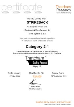 Van Bitz latest Thatcham certificate May 2014